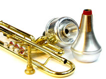 Trumpet and mute stock photo