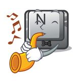With trumpet N button attached to mascot keyboard. Vector illustration stock illustration