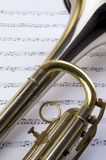 Trumpet and notes Royalty Free Stock Photography