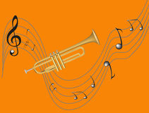 Trumpet and notes. Style trumpet and treble clef, sharp, many notes Stock Photo