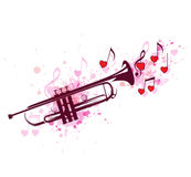 Trumpet, notes and red hearts Stock Image