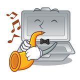 With trumpet open styrofoam in the character box. Vector illustration stock illustration