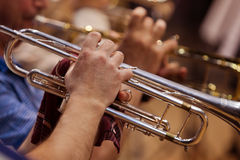Trumpet in the orchestra closeup Stock Photography