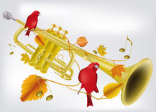 Trumpet and ornament from leaves Stock Photo