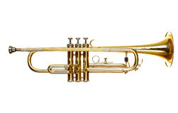 Trumpet over white background Royalty Free Stock Photos