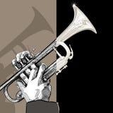 Trumpet på brun bakgrund stock illustrationer