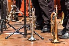 Trumpet på en träetapp Trumpetanseende på golvet Presentation av mässingsmusikbandet arkivfoton