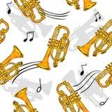 Trumpet Paint Seamless Pattern Art Design Stock Image