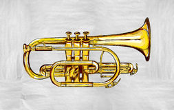 Trumpet Painting Image. Music background Stock Photos