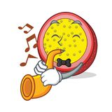 With trumpet passion fruit mascot cartoon. Vector illustration Royalty Free Stock Photography