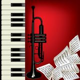 Trumpet and piano. Piano, trumpet and note. Music background vector vector illustration