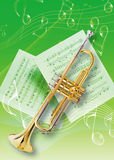Trumpet. Picture of an instruments and music note Stock Photo