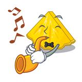 With trumpet pineapple slice in a cartoon fridge. Vector illustration royalty free illustration