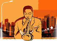 Trumpet player. Vector illustration of a trumpet player on city background royalty free illustration