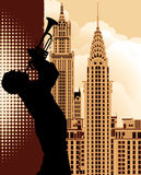 Trumpet player. Vector illustration of a trumpet player over New York cityscape background stock illustration