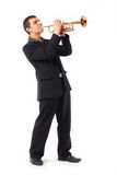Trumpet Player. Portrait of a young man playing his Trumpet Stock Image