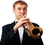 Trumpet Player. Portrait of a man playing his Trumpet Stock Images
