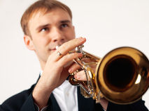 Trumpet Player. Closeup of the hands of an European musician playing the trumpet Royalty Free Stock Photos