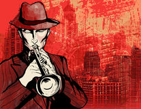 Trumpet player. Illustration of a trumpet player over a cityscape grunge background royalty free illustration