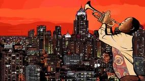 Trumpet player vector illustration