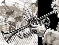 Trumpet player. Illustration of a trumpet player over a modern city background royalty free illustration
