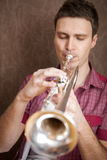 Trumpet player Royalty Free Stock Photography