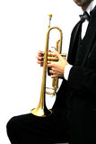 Trumpet player. Trumpet music player in a luxury suit and his golden trumpet Stock Photos