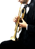 Trumpet player. Trumpet music player in a luxury suit and his golden trumpet Stock Image