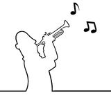 Trumpet player. Black line art illustration of a trumpet player Royalty Free Stock Image