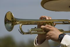 Trumpet player. During a Mexican festival Stock Photo