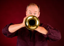 Trumpet Player. Front View of a Trumpet Player Stock Images