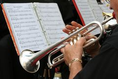 Trumpet player. Musical Instruments stock photos