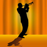Trumpet player stock images