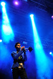 Trumpet player of Capital Cities (band), concert at Dcode Festival Stock Photos