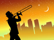 Trumpet player in the city Stock Image