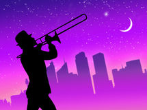 Trumpet player in the city Royalty Free Stock Photography