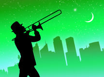 Trumpet player in the city Stock Photos