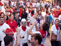 Trumpet player entertains audience at San Fermin Royalty Free Stock Photography