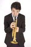 Trumpet  player front Royalty Free Stock Photography