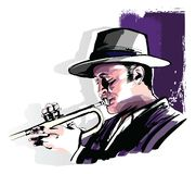 Trumpet player on grunge background royalty free stock photography