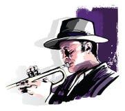 Trumpet player on grunge background vector illustration