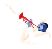 Trumpet player illustration Stock Photography