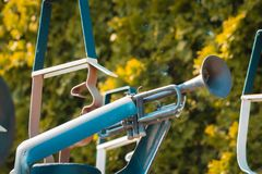 Trumpet player from a marching band statue royalty free stock image
