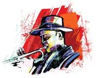 Trumpet player over grunge background vector illustration