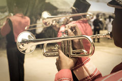 Trumpet player in parade Royalty Free Stock Photos