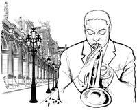 Trumpet player in Paris. Vector illustration of a trumpet player in Paris royalty free illustration