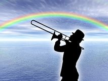 Trumpet player in the rainbow Royalty Free Stock Photography