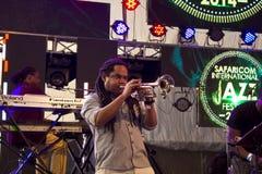 Trumpet player at a Richard Bona Concert Stock Photography