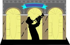 Trumpet player in silhouette Royalty Free Stock Photography