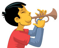 Trumpet player teenage boy Royalty Free Stock Image